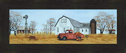 Home Cabin Décor Autumn On The Farm by Billy Jacobs 12x28 Pumpkins Old Truck Barn Silo Windmill Wheel Barrow Fall Seasons Framed Folk Art Print Picture ()