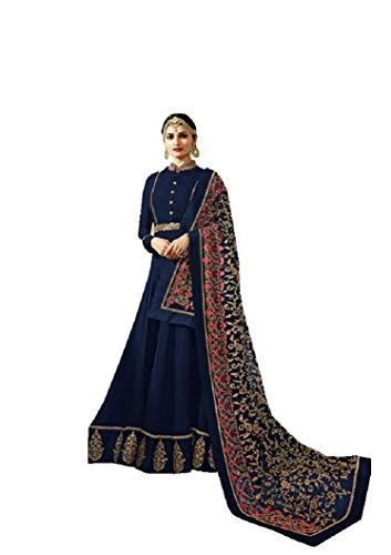 Delisa New Indian/Pakistani Designer Georgette Party Wear Anarkali Suit Maisa 04 (Blue-02, X-LARGE-44) (Blue Salwar Suit)