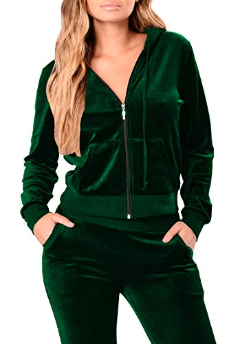 Pink Queen Womens Velvet Zipper Hoodie Top  Pants 2 Piece Loungewear,Deep Green,Large