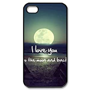 Custom iPhone 4,4S Case, Zyoux DIY iPhone 4,4S Case Cover - I love you to the moon and back