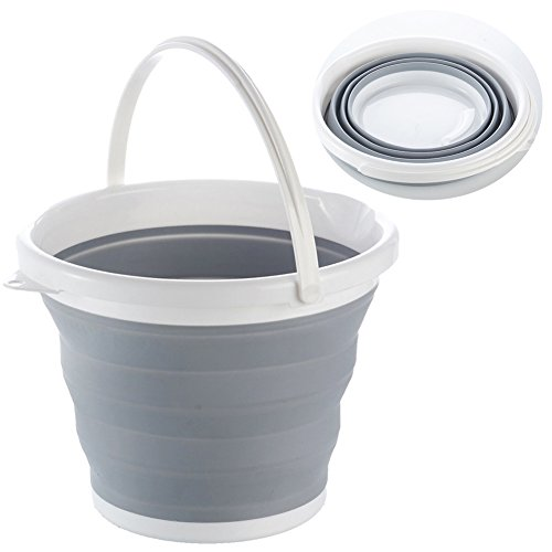 Ibnotuiy Space Saving Collapsible Plastic Bucket Water Container Wash Pail with Portable Handle for Fishing, Camping, Car Washing, Home Storage