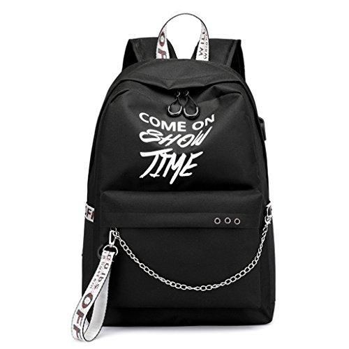 ShapeW School Bag Travel Waterproof Laptop Backpack Luminous Lyrics Print Charger USB (Black+Gray Belt)