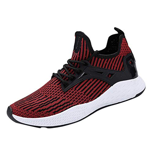 Men's Stylish Athletic Sneakers Breathable High Top Athletic-Inspired Mesh Shoes Summer Casual Ventilation Hiking Walking Shoe (Red, US:7) by Cealu (Image #2)