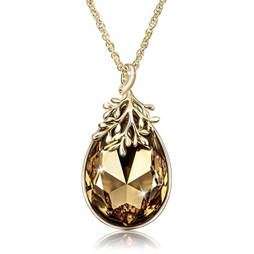 "Alantyer ""Message of Peace"" 18K Gold Plated Olive Branch Necklace with Swarovski Water Drop Crystal Pendant, November Birthstone"