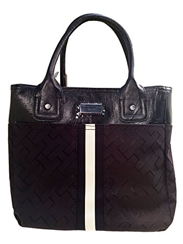 Tommy Hilfiger Handbag, Small Tommy Top Handle Purse (Black/Black Big Logo)