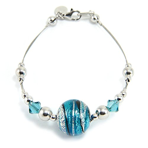 Leaf Sterling Charm Glass Silver (Woman's bracelet in 925 silver rhodium plated, Murano glass enhanced by a white gold leaf (made in Florence) and Swarovski crystals. BFR046/W01)