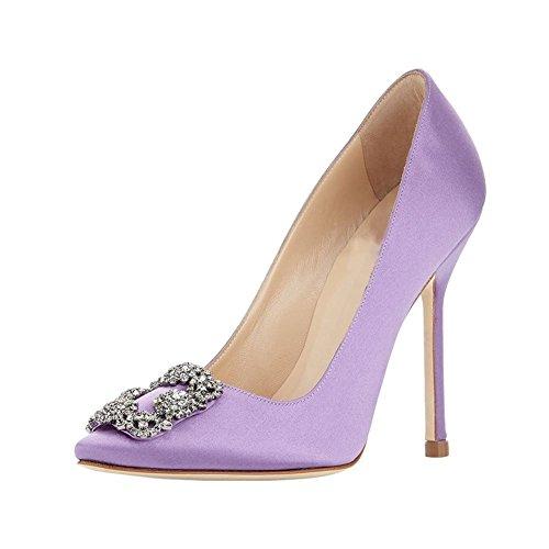 Arc-en-Ciel los zapatos de las mujeres de las bombas de tacón alto del dedo del pie redondo púrpura1