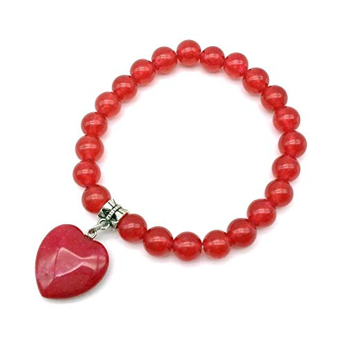 (Colorful Stone Beads Bracelets 8 Mm Elastic Bangle with Heart Charm Line Agates Pink Crystal Opal Onyx Lava)
