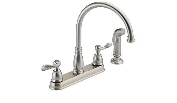 Amazon Com Delta Kitchen Faucet Low Lead Two Handle H Arc Spout
