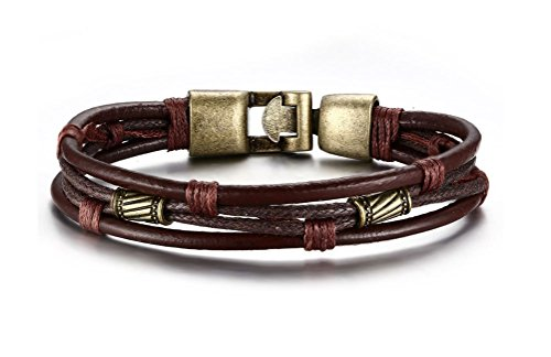 VNOX Jewelry Mens Brown Braided Rope Leather ()