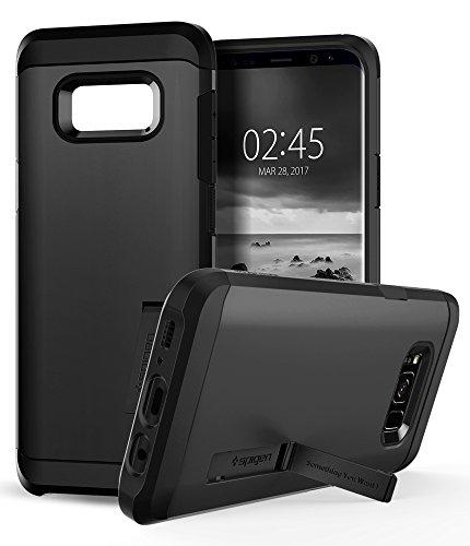 Estuche Spigen Tough Armor Galaxy S8 Plus con soporte de pie y protección extrema de alta resistencia y tecnología de cojín de aire para Galaxy S8 Plus (2017) - Negro