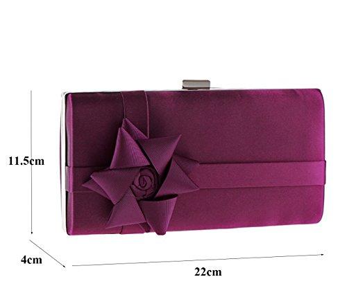 Purple WEDDING BAG 22x11 5x4cm FLORAL PLACEMENT HARDCASE PARTY COCKTAIl CLUTCH IZxPzwq