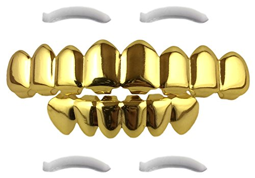 [24K Gold Plated Grillz 8 Tooth Top Bottom Mouth Hip Hop Teeth Grills + 2 Extra Molding Bars] (2 Person Halloween Costumes For Kids)