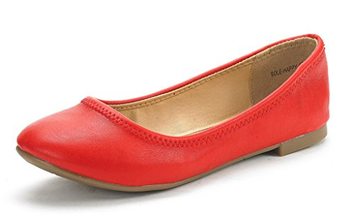 DREAM PAIRS Women's Sole Happy Red Ballerina Walking Flats Shoes - 6 M US