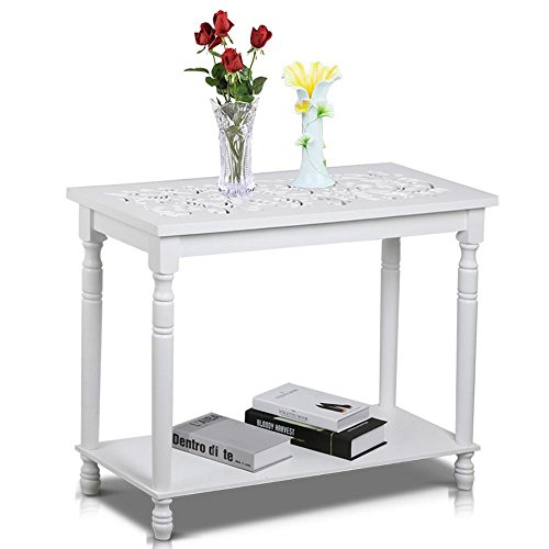 Topeakmart White Antique Console Tables with Carved Top/Leg and Lower Storage Shelf Entryway/Hallway Furniture - Top Carved End Table