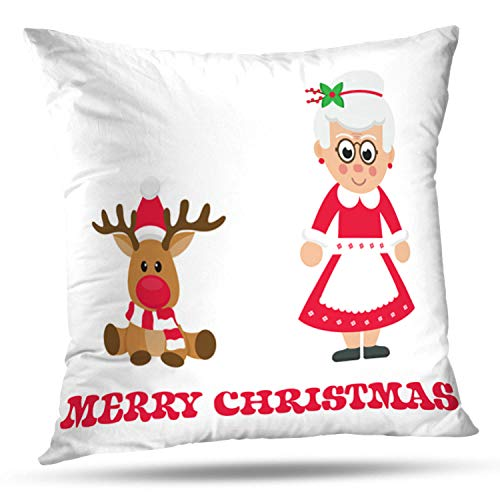 LALILO Throw Pillow Covers Cartoon Christmas Deer with Mrs Santa Claus Animal Card Double-Sided Pattern for Sofa Cushion Cover Couch Decoration Home Bed Pillowcase 18x18 inch ()
