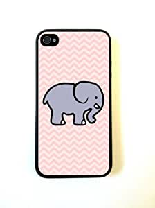 iPhone 4 Case Silicone Case Protective iPhone 4/4s Case Cute Elephant On Pink Chevron