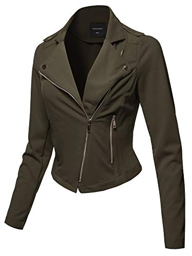 Awesome21 Solid Asymmetrical Zipper Closure Long Sleeve Thin Biker Style Jacket Olive L by Awesome21 (Image #5)