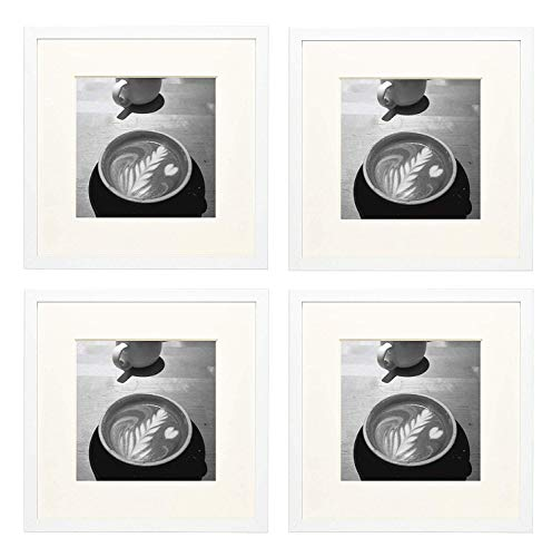 Golden State Art Set of Four, 12x12 White Photo Frame - Ivory Mat for 8x8 Picture - Square Wall Frame Collection - Real Glass - Sawtooth Hanger - Wall Mounting (4, White)