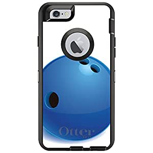 "CUSTOM Black OtterBox Defender Series Case for Apple iPhone 6 (4.7"" Model) - Blue Bowling Ball"