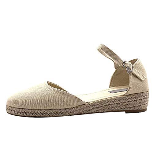 Womens Platform Wedge Sandals Closed Toe Lace Up Buckle Ankle Strap Heel Slingback Espadrille Sandals Shoes Beige]()