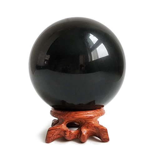 Mina Heal Obsidian Crystal Ball for Fengshui Ball, Meditation, Crystal Healing, Divination Sphere, Home Decoration, 100% Natural and Genuine (100 mm) -