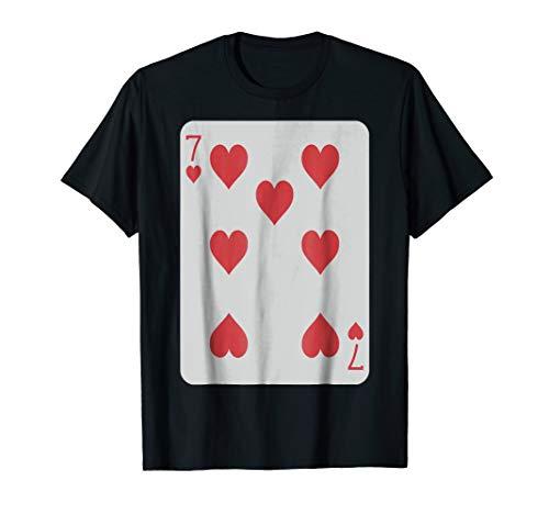 Seven of Hearts T-Shirt Poker Pro Luck Player Winner Costume