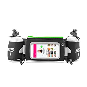 Hydration Running Belt Deluxe for Runners With Touchscreen And 2 Bottles, fits iPhone 6 Plus (Lime Green)