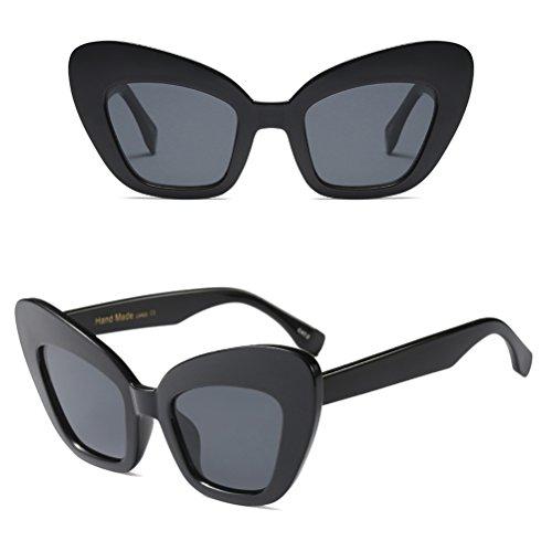 Conception Zhhlinyuan Eye Cadre Lunettes Cat UV400 Clarity de Soleil Lunettes Dames Black Rétro Femmes Lunettes 8WYa8qRx