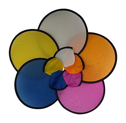 Assorted Colors Folding Toy Pocket Flying Disc with Pouch (Pack of 10) (Disc Fan)