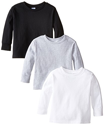 (Clementine Little Girls' Toddler Long Sleeve Basic T-Shirt Three-Pack,White/Black/Grey,2T)