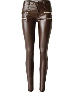 QitunC Damen Stretch Niedrige Taille Kunstleder Hose PU Coated Skinny Jeans  Leggings Biker Hosen 9c68a5ef51