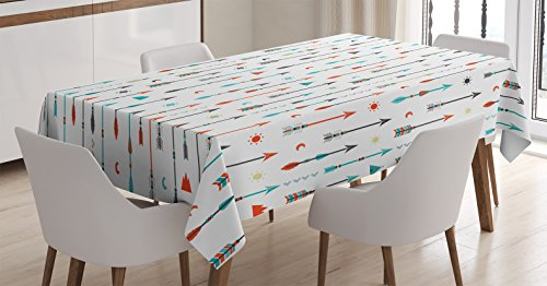 Ambesonne Arrow Decor Tablecloth, Traditional Tribal Tools Inspired Modern Illustration of Ethnic Authentic Original Arrows Art, Dining Room Kitchen Rectangular Table Cover, 52 X 70 inches, Blue Coral