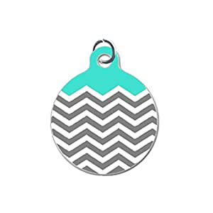 Chevron Pattern Turquoise White Grey Custom Unique Image Dog Tag (one Side image) Ideal Gift for Pets