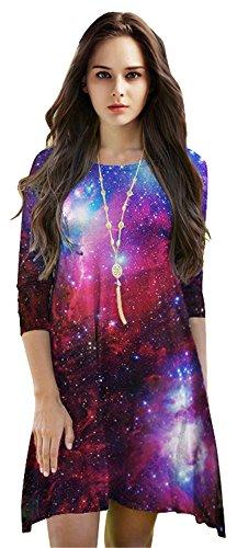 Delcoce Women's 3D Galaxy Print 3/4 Sleeve Round Neck Long Tunics Short Purple Dress
