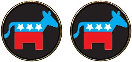 GiftJewelryShop Gold Plated Democrat Donkey On Black Photo Stud Earrings 12mm Diameter