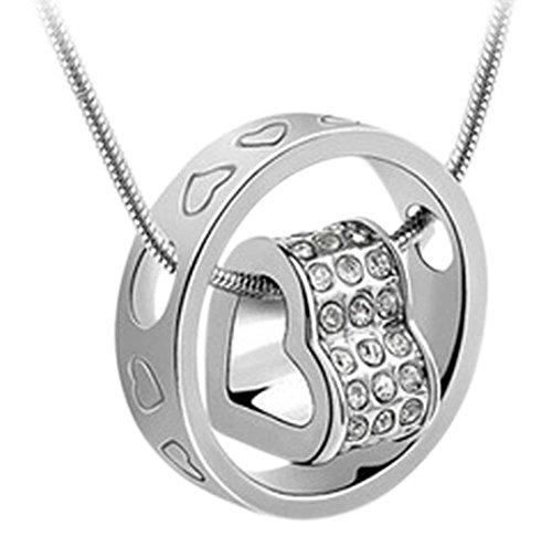 Halskette Damen Herz - Silber Kette mit Anhänger - Herzanhänger - Kristall halskette/ Kristallanhänger - Frauen kette mit herz