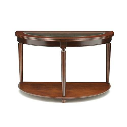 Furniture of America Western Beveled Glass Top Sofa Table, Dark Cherry Finish Half Glass Top Desk