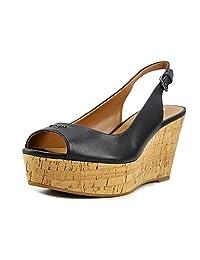 Coach Ferry Womens Black/Smoke Slingback Wedge Sandals
