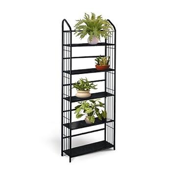 check out 3a6f3 00dfd Black Metal Outdoor Patio Plant Stand 5 Tier Shelf Unit (5-TIER SHELVES)