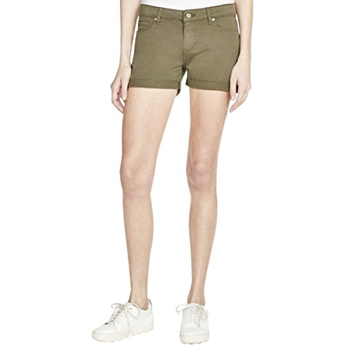 [Paige Womens Flat Front Cuffed Denim Shorts Green 29] (Misses Flat Front Shorts)
