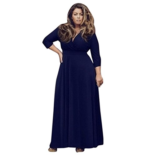 Women Girls Fashion Dress GoodLock Lady Female Plus Size Long V-Neck Maxi Evening Party Ball Prom Gown Cocktail Dress (Navy, Size:L)