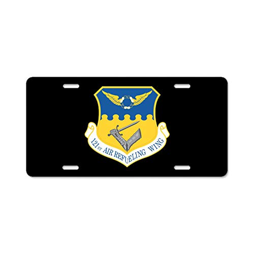 U.S. Air Force 121st Air Refueling Wing Metal Black License Plates, Personalized Custom Plates for Car Decoration 6 inch x 12 inch US Standard ()