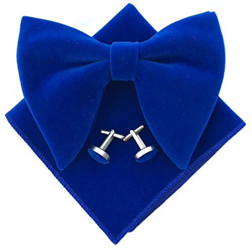 Mens Pre-Tied Oversized Bow Tie Tuxedo Velvet Bowtie Cufflinks Hankie Combo Sets (Royal Blue), 4.7 inches x 4.1 inches