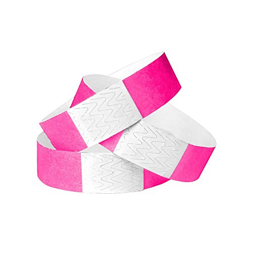 (WristCo Neon Pink 3/4 Inch Tyvek Unnumbered 500 Count Paper Wristbands for Events)