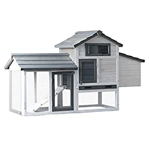 ALEKO 58X21X34 Wooden Pet House Poultry Hutch, Rabbits Chickens Hen Coop Wooden Cage Roof Access