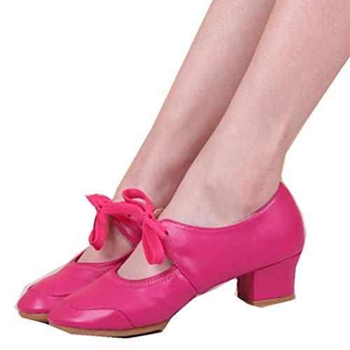 Women Ballroom Dancing Shoes Salsa Sandals Latin Dance Practice Shoe Ladies Dancing Rumba Waltz Prom Shoe Memela (Hot Pink, 6.5 M ()