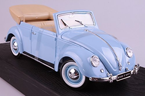 1951 Volkswagen Beetle (Maisto 1/18 Scale 1951 Volkswagen Beetle Cabriolet Diecast Model Car - Blue - Promotional Product - Your Logo Imprinted (Case Pack of 6))