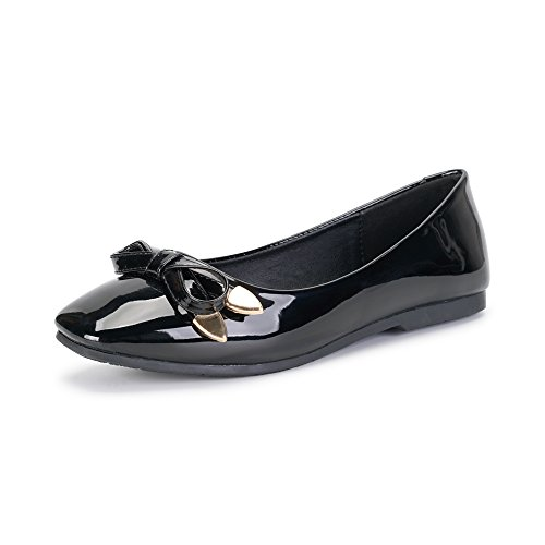 OCHENTA Women's Closed Toe Bowknot Slip On Comfort Ballet Flat Dress Shoes Black Tag 37 - US (Black Patent Leather Ballerina)