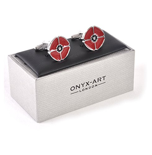 Premier Life Store. Onyx Art Metallic Red Poppy Rememberance Day Designer Cufflink's in a Gift Box - CK861 ()